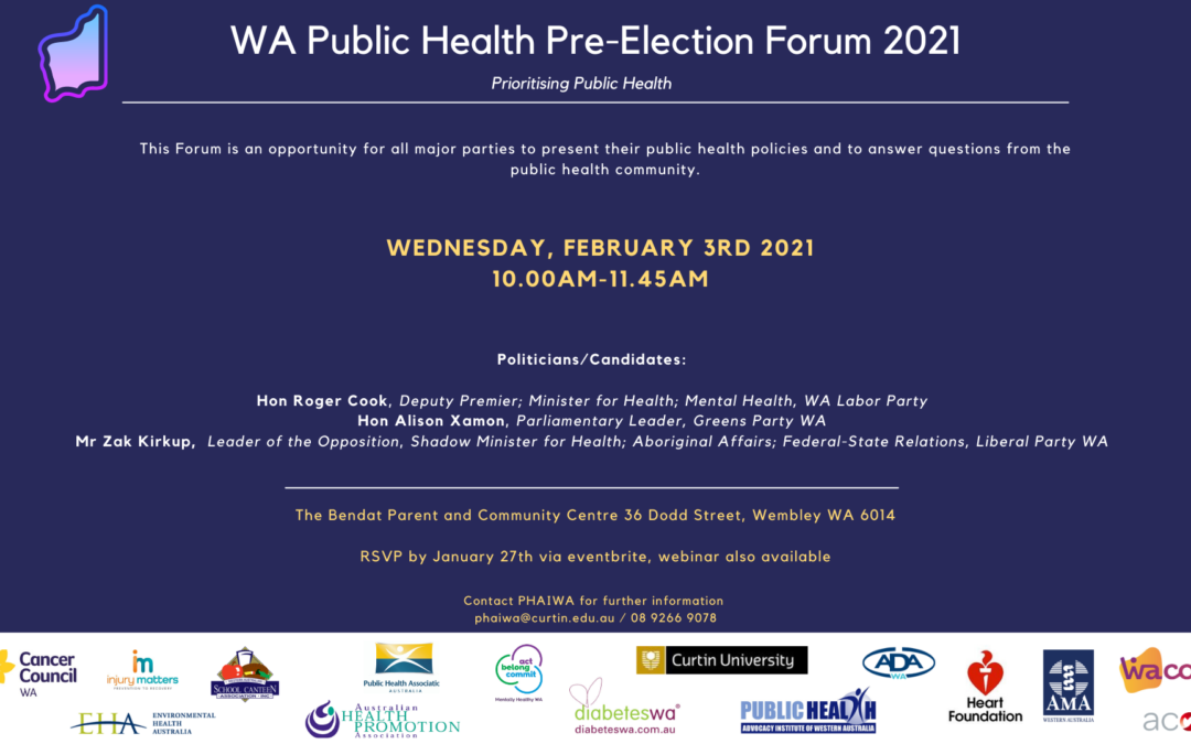 WA Public Health Pre-Election Forum 2021
